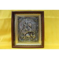 Икона посеребренная риза Георгий Победоносец 21х25 7500руб *