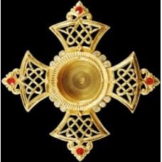 """Мощевик """"Крест Мальтийский"""" большой золочение с камнями 2900руб"""