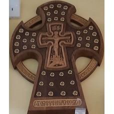 Крест деревянный(клен, дуб) резной Секира с мощевиками 42шт