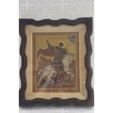 Икона письмо Георгий Победоносец в фигурном киоте 22х28 16500руб