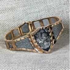9003 Браслет серебро с позолотой св.Георгий Победоносец Псалом 90 (мощевик)