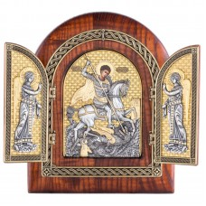 Складень арка 17650руб Чудо Георгия Победоносца с предстоящими ангелами (Сербия)